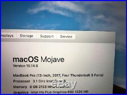 2017 Apple MacBook Pro Touch Bar Gray 13 Laptop 8GB 3.1GHz 512GB SSD VERY GOOD