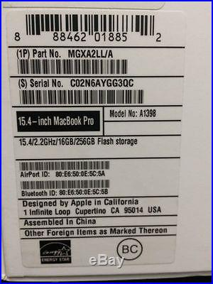 Barely Used Apple MacBook Pro 15 Laptop with Retina Display MGXA2LL/A(Mid-2014)
