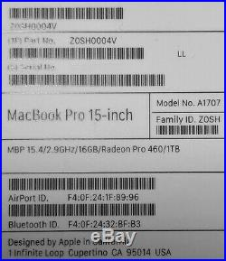 MacBook Pro 15.4 2016 /2.9Ghz/16gb/1TB SSD/SpaceGray NearMint withBox Applecare