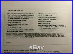 SEALED New 2019 Apple Macbook Pro Touch Bar 16 16in 16gb 2.6GHz 512gb