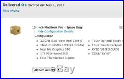 Slightly Used Space Gay 2017 MacBook Pro 13 16gb 1TB Touch Bar ID 3.3ghz i7